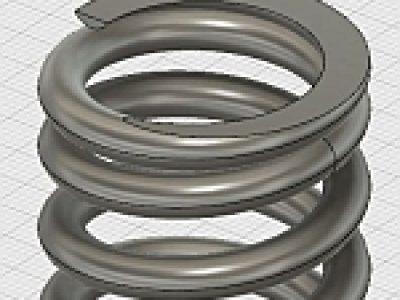 座巻形状を表現した圧縮コイルばねの3Dモデリング